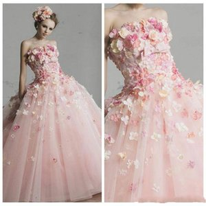 Wholesale 2019 Beautiful Princess A Line Quinceanera Dresses Bateau Sleeve Full Handmade Flowers With Big Bow Sweep Train Prom Evening Party Gowns