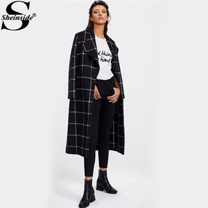 Wholesale Sheinside Drape Collar Grid Plaid Longline Coat Ladies Turn down Collar Long Sleeve Casual Outer Women Elegant Autumn Coat