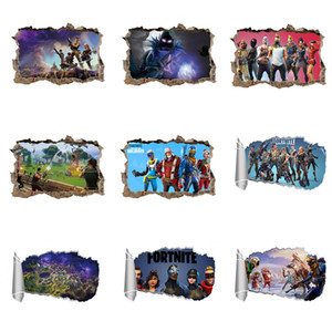 Wholesale 3D Fortnite Wall Decals PVC Self-adhesive Kids Wall Art Stickers Broken Wall Mural Stickers for Kids Room Decoration
