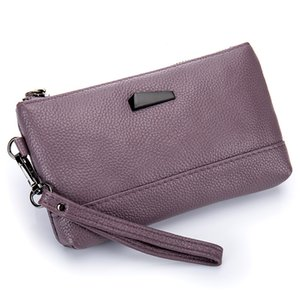 Wholesale Soft Genuine Leather Women Clutch Bag Organizer Purse Real Cowhide Phone Bag Wrist Mini Handbags Fashion Summer Girl Gift Purple