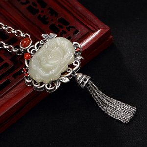 Wholesale silver S925 pure silver antique mosaic and Jade white jade South Red Lotus butterfly tassel lady pendant