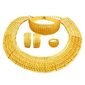 Wholesale 2018 African Fashion Women Jewelry Gold Plate Dubai Jewelry Sets Big Necklace Ring Bracelet Bridal Wedding Jewelry Clothing Accessories