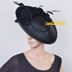 Wholesale Black all year round Large saucer satin fascinator hat for Kentucky Derby wedding Church party formal occasions