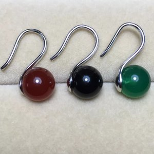 Wholesale one pair black red green jade round mm hook earrings FPPJ beads nature