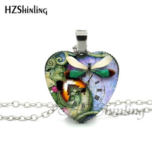NHT--0064 New Steampunk Dragonfly Heart Necklace Purple Dragonfly Heart Pendant Jewelry Murano Glass Heart Necklace