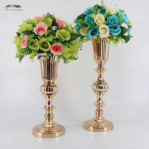 Wholesale 50cm Gold Tabletop Vase Metal Flower Vase Table Centerpiece For Mariage Metal Flowers Vases For Wedding Decoration