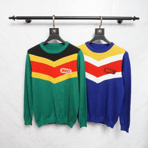 Wholesale 18ss Europe Italy Patchwork Colorful V Type Warn Sweater Sweatshirt Fashion Men Women Clothes Luxury Cotton Stripe Pullover Hoodie Sweaters