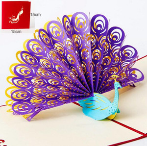 Wholesale Hollow Peacock Handmade Kirigami Origami D Pop UP Greeting Cards Invitation Of Wedding Postcard For Birthday Wedding