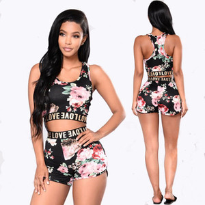 2018 Summer Womens Sexy 2 Pieces Floral Printed Crop Tank Tops Bodycon Shorts Party Clubwear Tracksuit Set FU027