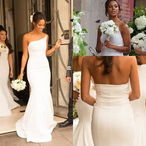 Wholesale New Simple African Bridesmaids Dresses Long Sexy Strapless Cheap Country Arabic Mermaid Wedding Party Gowns Custom Made