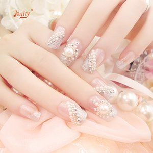 Wholesale 24 French Style Pearl False Nails White Bride Wedding Nail Tips Manicure Art Patch Design Acrylic Artificial Fake Nails