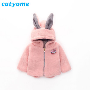 Wholesale winter coats girls resale online - Cutyome Winter Jacket for Girls Cotton Hoodies Rabbit Ears Thick Parka Children Warm Outerwear Clothing Baby Pink Fur Coats