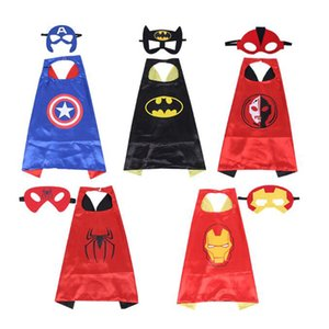 Wholesale costume cloaks capes resale online - Fashion Happy Halloween Costume Set Cloak Cape And mask cosplay party witch dress clothing For Boy Girl Gifts