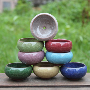 Wholesale pots resale online - Practical Round Ceramics Garden Pot Breathable Mini Planters For Home Desktop Succulent Plants Flowerpot New Arrival yx BY