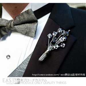 Custom variety of crystal color wedding groom corsage men's business flowers