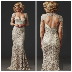 2018 Slim Lace Mermaid Mother Dresses Formal 3 4 Long Sleeve Custom Beads Ladies Formal Dress Floor Length Champagne Mother Of Bridal Gowns on Sale