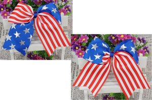 Wholesale 2018 NEW ARRIVAL Inch th of July Hair Bow Exclusive Patriotic Cheer Bows American Flag Hair Bows for Cheerleading Girls