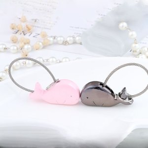Wholesale Cute Alloy Animal Dolphin Keychains Different Shape Silver Black Dolphin Cute Key Ring Fashion Couple Keychain Jewelry Gift