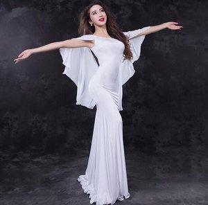 Wholesale New Arrival Lady s One Piece Modal Oriental Dance Show Costume One Piece Long Dress With Wings Sexy Fish Tail White Free Shiping