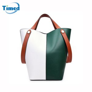 Wholesale Europe Style Women Color Block Bucket Bags Simple Fashion Handbags High Quality PU Leather Composite Bag New Totes For Lady