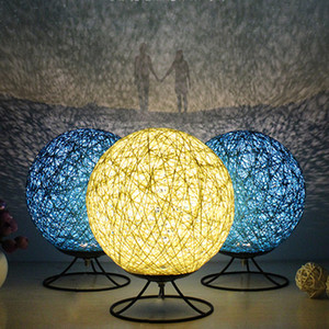 Hemp Rattan Ball led Table Lamp Bedroom Bedside Desk Lamp Dream Night Light Retro Restaurant Personalized Desk Light Design lamp on Sale