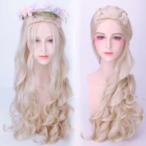Wholesale 80cm New Hot Alice in Wonderland White Queen Cosplay Wig Blonde Wavy Long Braid Synthetic Hair Heat Resistance Fiber Party Hat