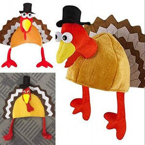Wholesale Cartoon Turkey Plush Cap Halloween Party Cosplay Supplies Women Men Masquerade Gift Velvet Designer Thanksgiving Hat xw hh