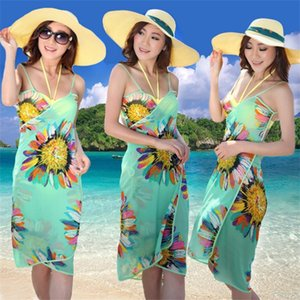 Femme Bikini Praia Coverup Printed Floral Woman Swimsuit Beach Swimming Cover Up Lady Swimwear Mix Bodycon Summer Dress 7 5fh V