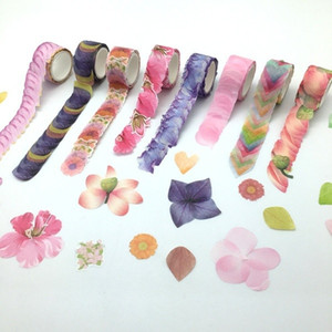 Wholesale 2018 New DIY Paper Japanese Adhesive Petal Washi Tape Stickers DIY Scrapbook Decorative Tape Kids Hobbies Art Supplies Petal Roll
