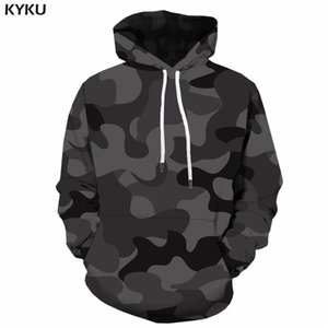 Wholesale KYKU Black Camo Hoodies Men Camouflage Hoodie Printed d Sweatshirt Anime Long Vintage Mens Clothing Gothic Streetwear