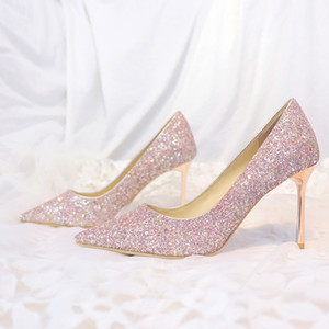 Wholesale Sparkly Champagne Sequined Wedding Shoes For Bride Stiletto Heel Prom Banquet High Heels Plus Size Pointed Toe Shallow Bridal Shoes
