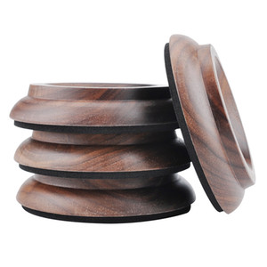 Hardwood Upright Piano Caster Cups Set of 4 Real Walnut Wood Piano Leg Pads Protection