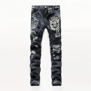 Wholesale 2018 Fashion Embroider Men s Distressed Ripped Skinny Jeans Designer Mens long Jeans Slim Mens Denim Pants Hip Hop Men Jeans Black