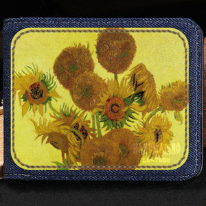 Wholesale paintings sunflowers resale online - Sunflowers wallet Vincent Willem van Gogh purse Paint short cash note case Money notecase Leather burse bag Card holders