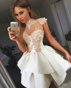 Short Skirt Stain Applique High Neck Sleeveless A Line Party Dresses Custom Made New Coming Prom Dresses on Sale