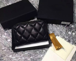 Wholesale brand new lambskin Women zipper coin purses genuine leather small wallet for lady