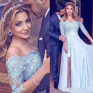 Wholesale 2018 Arabic Light Sky Blue Off The Shoulder Satin Evening Dresses 1 2 Long Sleeves Lace Applique Beaded Split Formal Party Prom Dresses