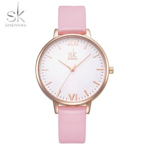 Wholesale Sk Hot sale New women s casual pink Quartz watch Thin Leather pink Strap Watch Fashion Ladies Watches with nice packing