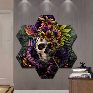 Wholesale Canvas Prints Poster Home Decor Pieces Flower Skull Paintings For Living Room Wall Art Gorgeous Halloween Theme Pictures Frame