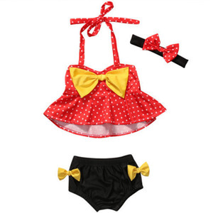 Wholesale Red Dotted Printed Big Bow Hanging Neck Tops Black Yellow Bow Tie Swimsuits Beachwear for Baby Girs With Floral Printed Headband