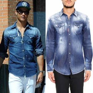 Wholesale Men's Bleach Fade Denim Shirt Cool Guy Slim Fit Longsleeves Washed Vintage Solid Color Cowboy Shirts Man