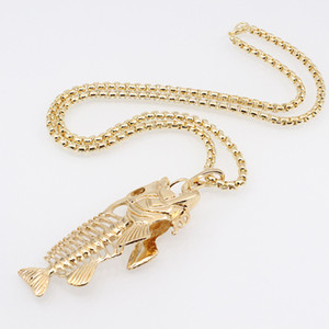Wholesale Fish Bone Fishing Hook Pendant Necklaces Punk Style Men Alloy Link Chain Colors Personality Jewelry