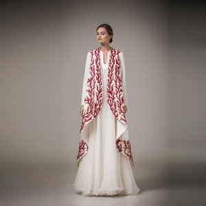 Wholesale Elegant White And Red Applique Evening Gowns Ashi Studio Long Sleeve A Line Prom Dresses Formal Wear Women Cape Party Prom Dresses DH355