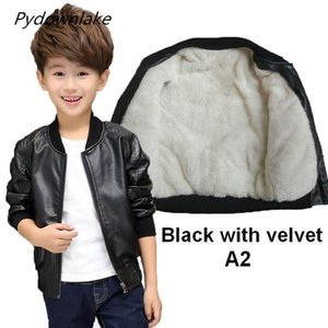 Wholesale 2018 Spring Winter Boys Faux Leather Jacket Korean Style Children's Plus Velvet Coat Warm Boy Jacket For 4-15Y Kids Winter Kids Outerwear