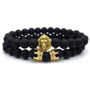 Wholesale 2pcs set New Fashion Lion Crown Couple Charm With Lava Bead Bracelet Sets For Men Wristband Jewelry Accessories