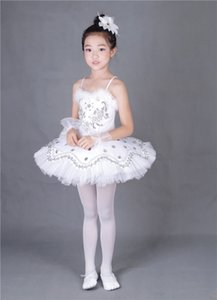 Wholesale Girl Feather BallerinaTutu Costume Child Sequins White Swan Lake Tutu Dance Dress Ballet clothes for Kids Dress for Ballet