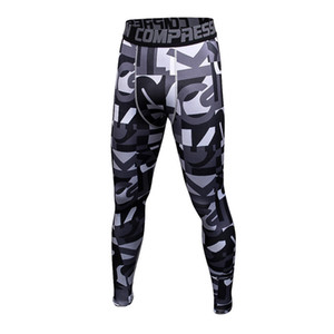 Wholesale New mens camouflage compression tights Leggings Running sports Gym Fitness male trousers exercise bodybuilding Large size pants W