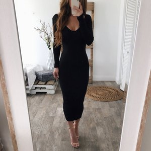 Wholesale Elastic Slim Midi Dress Women Sexy V Neck Long Sleeve Pencil Dresses Autumn Winter Knitted Sweater Dresses
