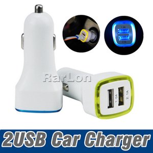 Wholesale 5V A Dual USB Ports Led Light Car Charger Adapter Universal Charging Adapter for iphone X Samsung S8 Note8 HTC LG Cell phone