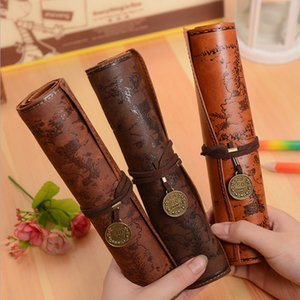 Wholesale Vintage Retro Treasure Map Pencil Cases Luxury Roll Leather PU Pen Bag Pouch For Stationery School Supplies Make Up Cosmetic Bag